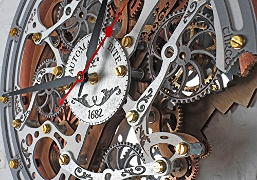 Automaton Bite 1682 White HANDCRAFTED moving gears wall clock by WOODANDROOT transparent steampunk wall clock, unique, personalized gifts, anniversary gift, large wall clock, home decor by WOODANDROOT (Image #2)