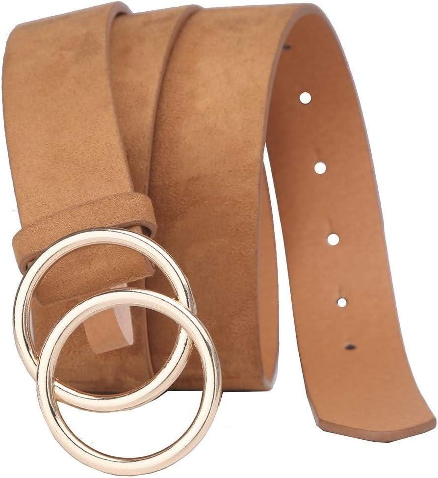 Tanpie Womens Leather Waist Belt Double Buckle For Dress Jeans Khaki L
