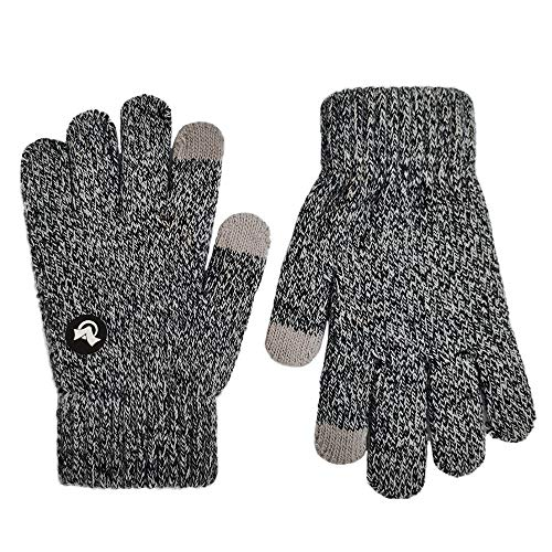 LETHMIK Mix Knit Touchscreen Gloves,Kids Texting Winter Cold Weather Gloves for Boys&Girls Black