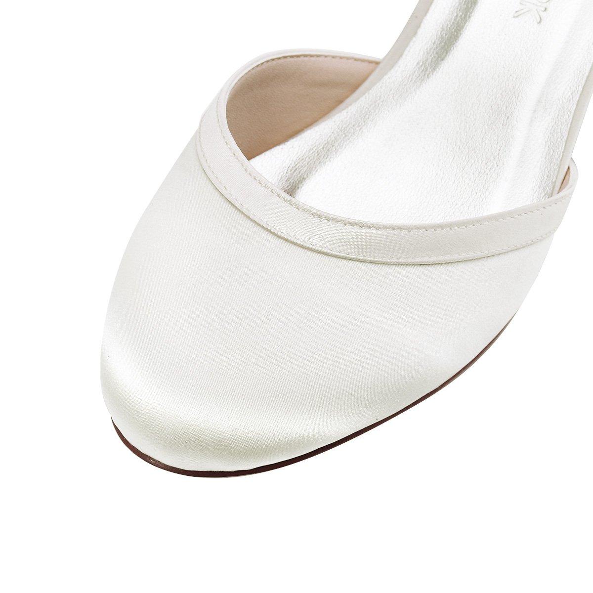 ElegantPark Donna Punta Chiusa Tacco Grosso Cinturino Scarpe Alla Caviglia Pompe Satin Scarpe Cinturino Da Sposa Da Sera  Avorio 54845d