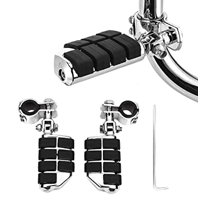 KING SHOWDEN Motorcycle Foot Pegs Foot Rest Highway Footpegs For Road King Street Glide Honda Kawasaki Suzuki Yamaha 25mm 32mm 34mm (Chrome): Automotive