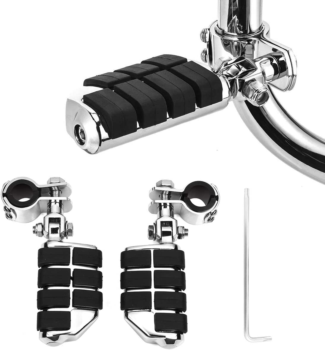 Motorcycle Footpegs Highway Pegs Foot Rest (Black) for Road King Street Glide Honda Suzuki Yamaha Kawasaki Engine Guard