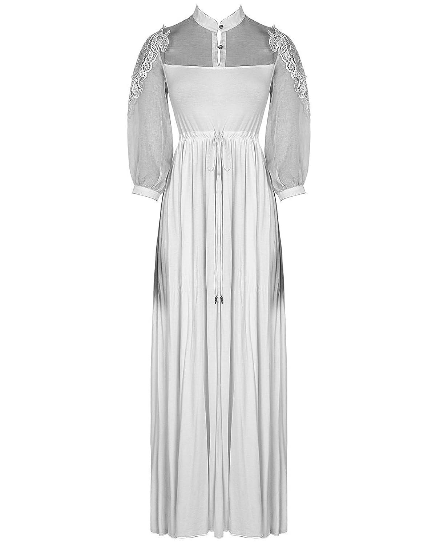 Punk Rave Maxi Dress Long White Gothic Steampunk Victorian Summer VTG Witch