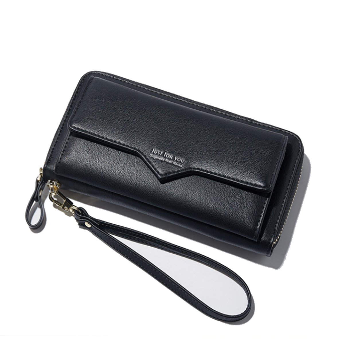 Women Leather Wallet Fashion Clutch Card Holder Purse Zip Multi-functional Handbag Wristlet Strap Front Pocket Smart Phone Black