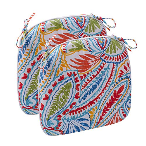 """IN4 Care Decorative Indoor/Outdoor Non Slip Foam Seat Cushion Chair Pads with Ties - 17"""" x 16"""" for Outdoor Patio Furniture Garden Home Office"""