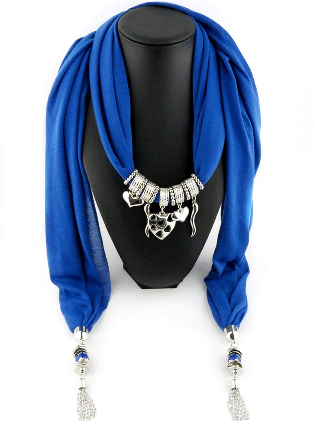 Chic-Dona Fashion Women/Lady's Jewelry Necklace Scarf Cotton Scarves Heart Pendant Scarves 2 One Size