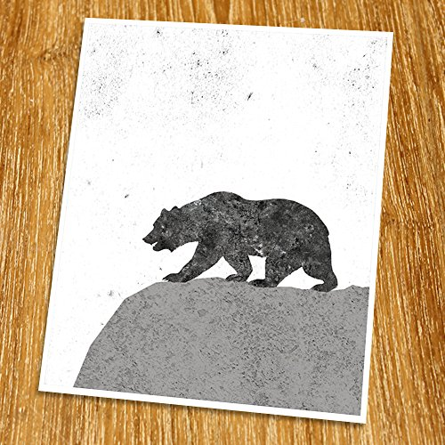 (Modern Art Print (Unframed), Geometric Art, Abstract Art Poster, Mid-century Art, Cafe, Industrial, Loft, Bear Wall Art, Animal Wall Decor, Black and White, 8x10