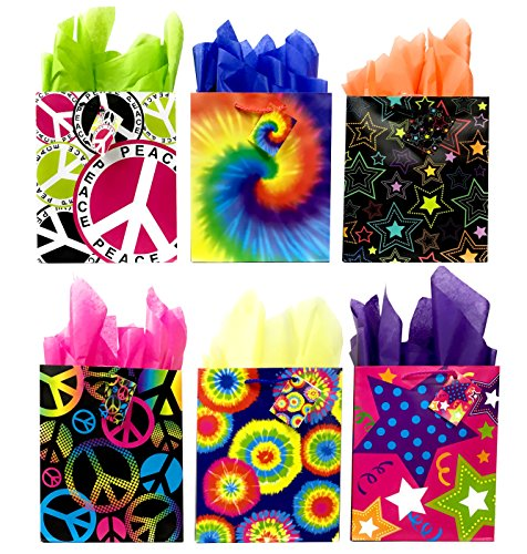 - Peace Sign Tie-Dye Gift Bags + Tissue Paper, 6 Medium Gift Bags + Tissue Paper, All Occasion Rainbow