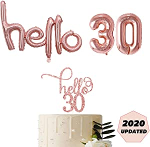 30th Birthday Rose Gold Hello 30 Script Letter Balloons Decorations Backdrop Decor For Her with Hello Thirty Birthday Party Cake Topper