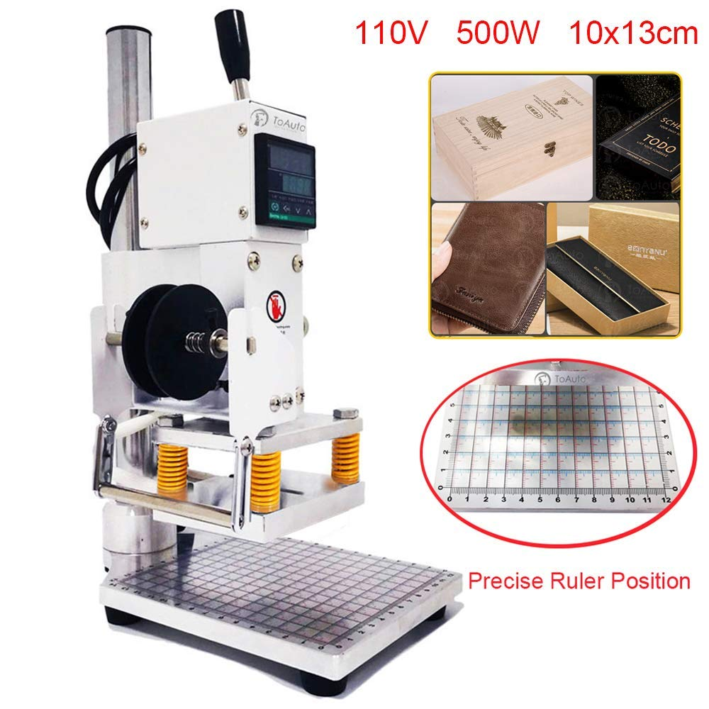 Upgraded Hot Foil Stamping Machine 10x13cm Leather Bronzing Pressure Mark Machine 110V with Full Scale on The Base Plate for PVC Leather PU Paper Logo Embossing (Renewed) by FASTTOBUY