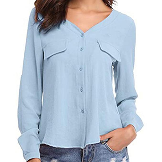 Camisas para Mujer otoño, Covermason Blusa de Manga Larga Casual con Botones(40,