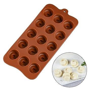 Molde de silicona para chocolate, molde para pasteles, con forma de Whirlpool resistente al
