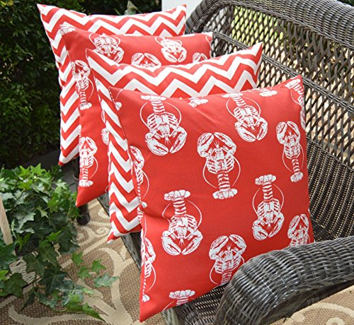 Set of 4 Pillow Covers ~ Red & White Chevron & Coastal / Nautical / Beach Lobster Indoor / Outdoor