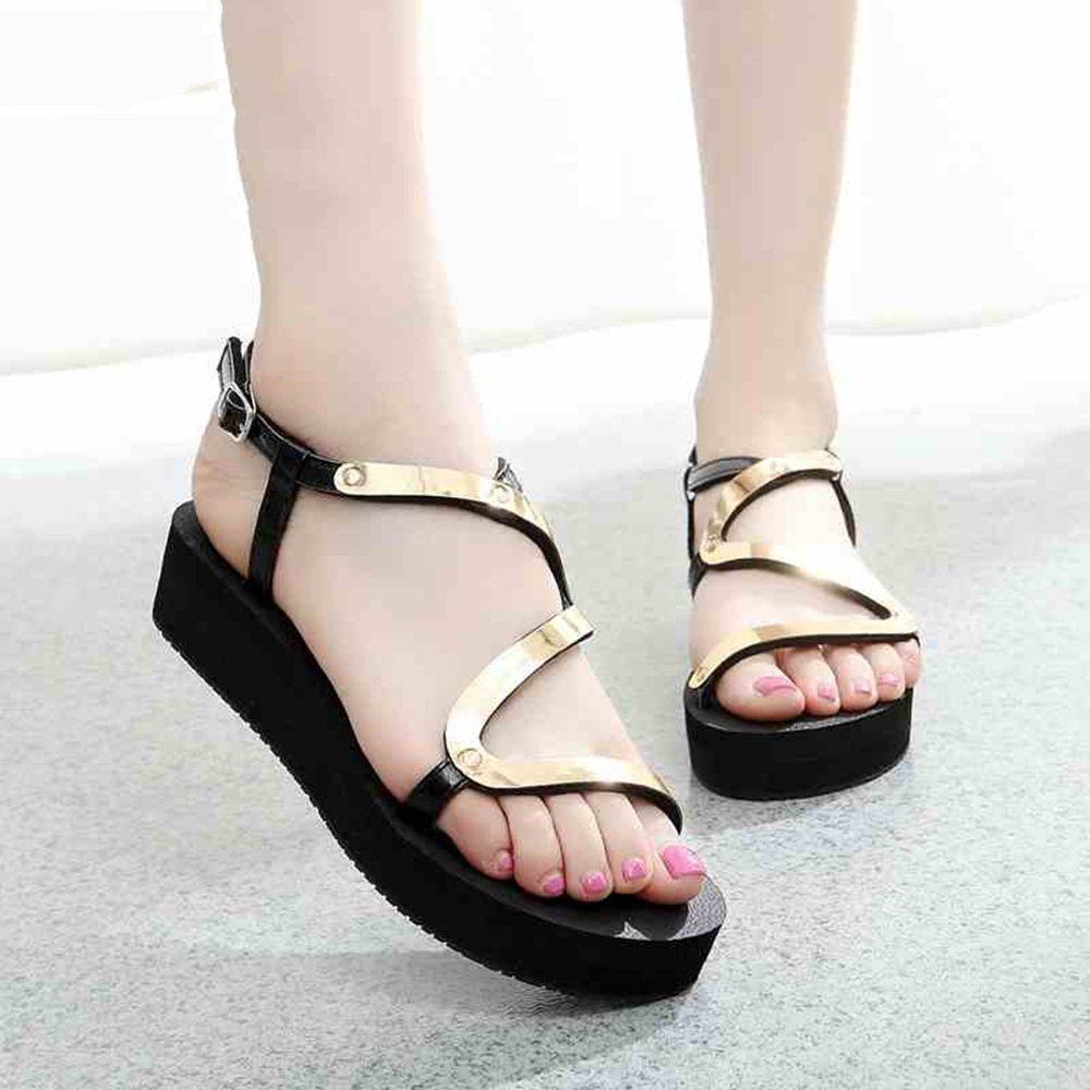 MEIDUO Sandalen Sommer Flache Sandalen Fashion Student Schuhe Anti-Rutsch-Schuhe Anti-Rutsch-Schuhe Schuhe Für Gold/Siliver Gold aeca08