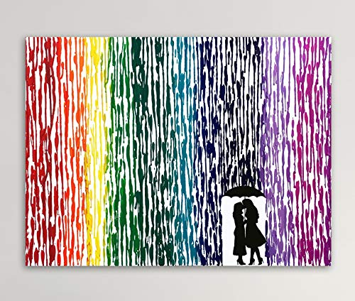Girl In Dress Silhouette Art LGBTQ Couple Gift Lesbian Wedding Gift Melted Crayon Art 16x20