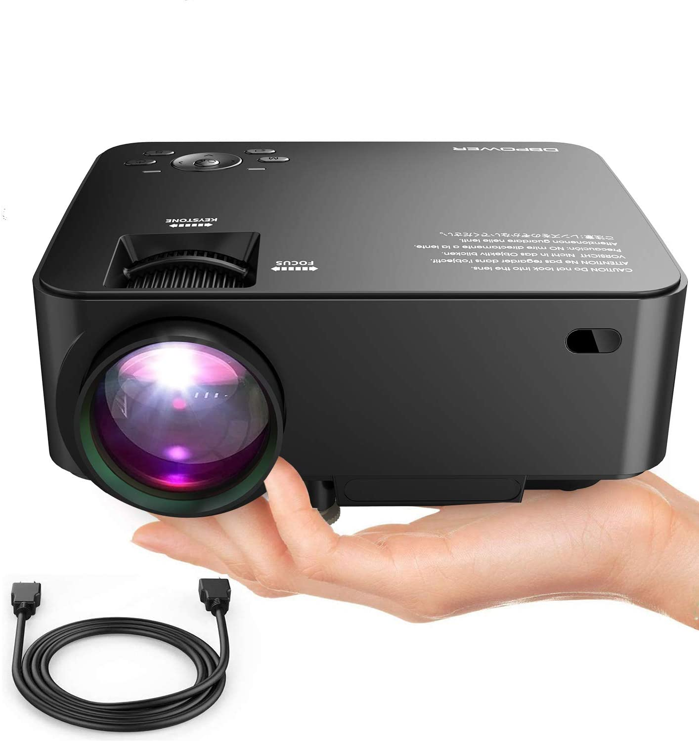 DBPOWER T20 LCD Mini Movie Projector, Multimedia Home Theater Video Projector with HDMI Cable, Support 1080P HDMI USB SD Card VGA AV TV Laptop Game ...