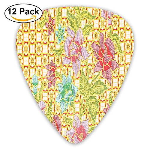 Newfood Ss Indonesian Batik Pattern With Flowers On Bound Tied Floral Guitar Picks 12/Pack Set