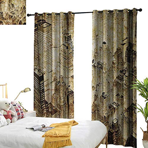 WinfreyDecor Sliding Curtains Vintage High Buildings Night Luminous United States of America City Vibrant Alive Town Photo Darkening and Thermal Insulating W108 x L96 Yellow