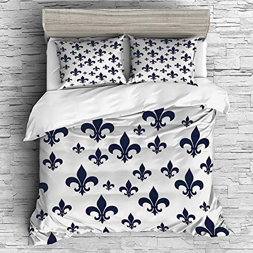 (All Season Flannel Bedding Duvet Covers Sets for Girl Boy Kids 4 Pcs (double size)Navy Blue Decor,Various Sized Classic Fleur de Lis Patterns Royal Retro Style Antique Decor Living,Gray Dark Blue)