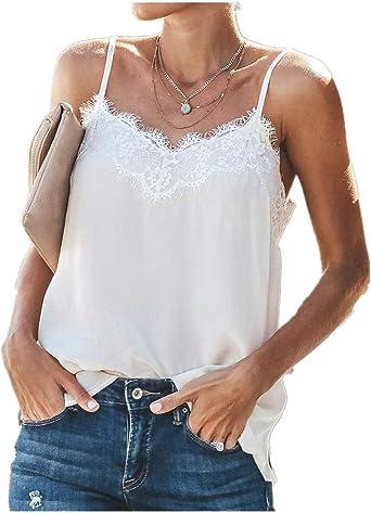 JURTEE Camiseta Mujer Tirantes Moda Encaje Patchwork Cuello En V ...