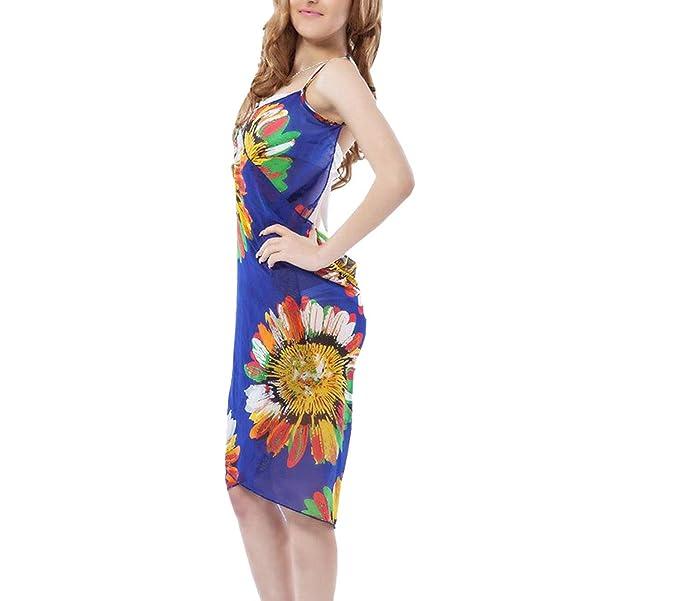 5111df027c8fb Livina Women's Chiffon Sling Beach Wear Dress Sarong Bikini Cover ...
