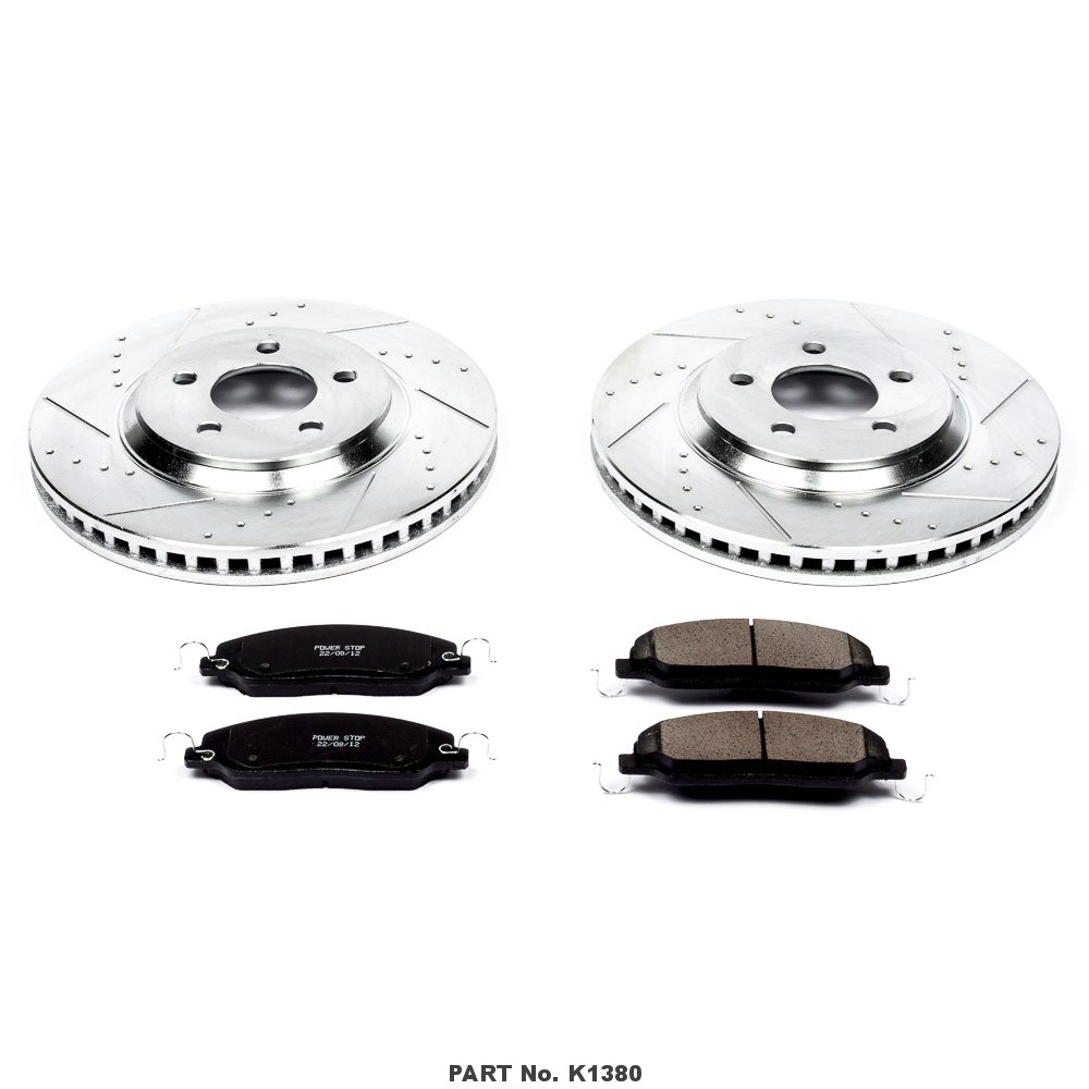 Power Stop K1380 Front Z23 Evolution Brake Kit with Drilled//Slotted Rotors and Ceramic Brake Pads