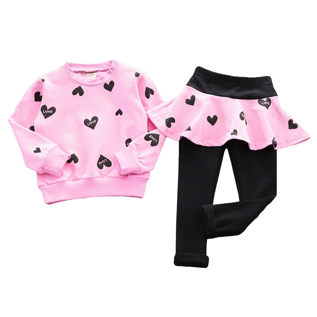 Toddler Baby Girls Clothes Set Long Sleeve Heart Print T-Shirt and Pantskirts Kids 2pcs Outfits