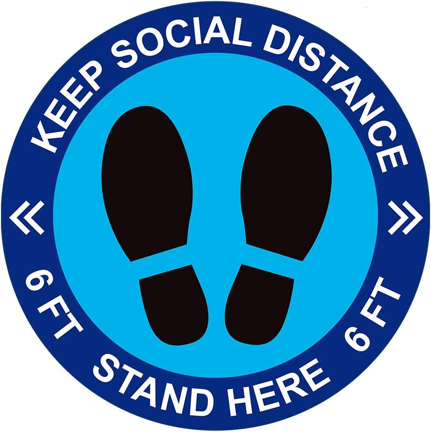 "Social Distancing Floor Decal Stickers - 30 Pack 8"" Stand Floor Decal - Wait Here Sign Safety Distance of 6 Feet Sticker Markers, for Crowd Control Guidance, School, Bank, Lab. (Blue)"