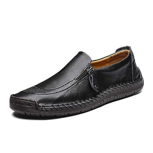 Zapatos Hombre Cuero Mocasines Casual Confortable Zapatos Perezosos Vestir Cómodos para Hombres Negro Caqui Rojo 38-48: Amazon.es: Zapatos y complementos