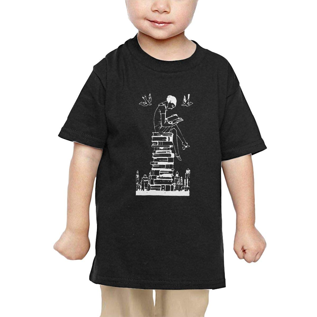 Chunmmmmm Reading Girl ATOP Books Baby Infant Short Sleeve Round Neck Cotton Tee
