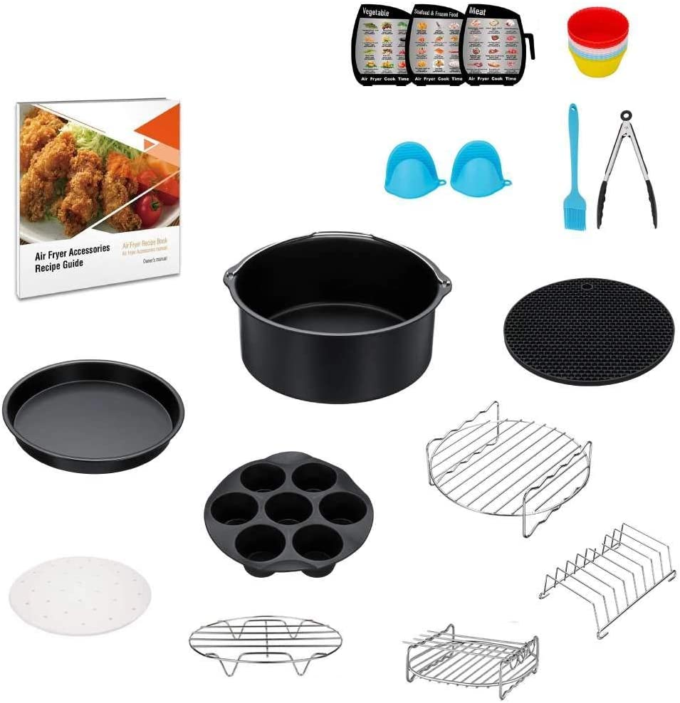 12 PCS Air Fryer Accessories - With Cake Barrel/Pizza Pan and Silicone Mat Replacement Parts of AirFryer