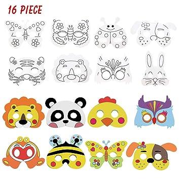 Cozywind Máscaras Animales para Niños Colorear, Caretas Animales para Fiestas, Halloween, Cosplay, Cumpleaños, Manualidades Infantiles- Kits de ...
