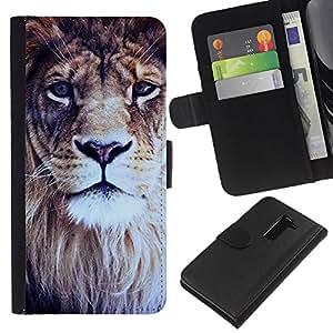 KingStore / Leather Etui en cuir / LG G2 D800 / Afrique du roi des animaux à fourrure