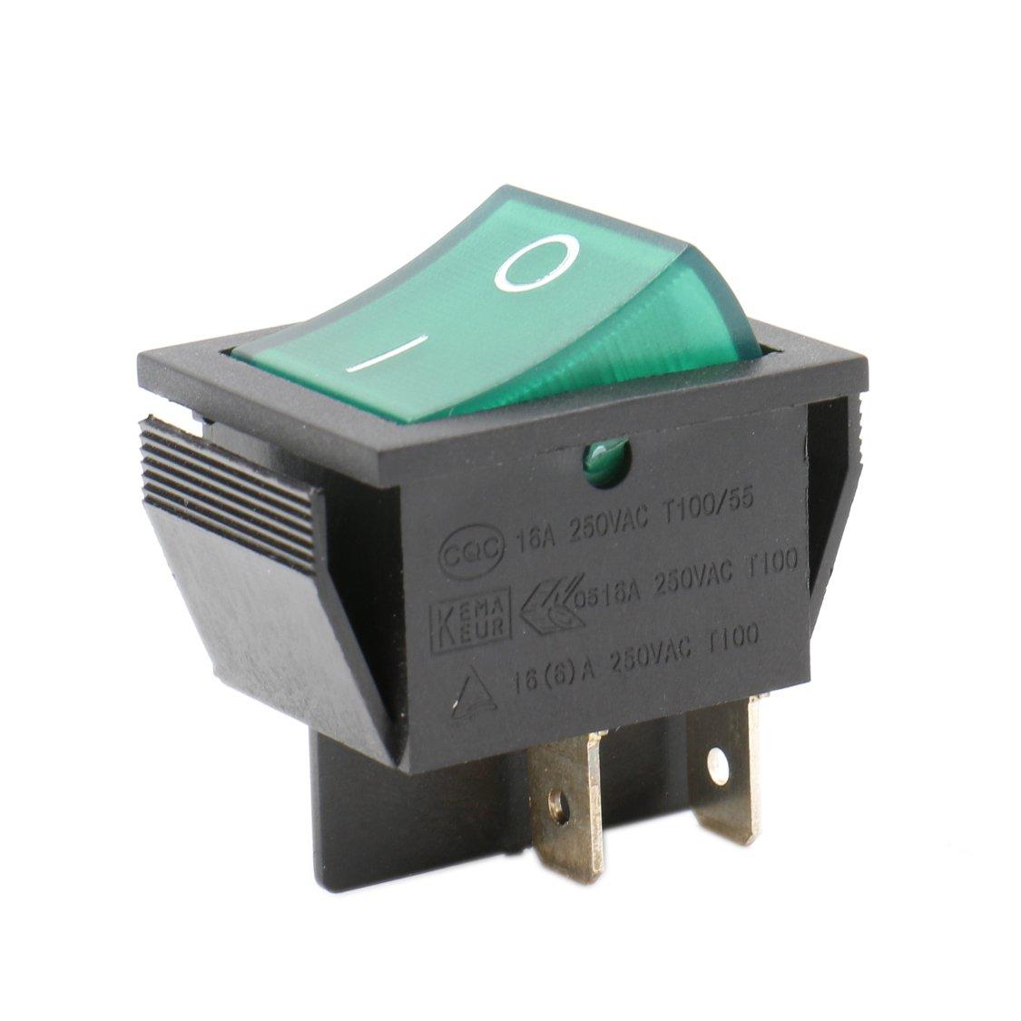 Heschen Interrupteur à bascule ON/OFF Dpst On-Off 4bornes Vert clair 16A 250VAC Lot de 2 Ningbo Master Soken Electrical Co.Ltd RK1-01-HS