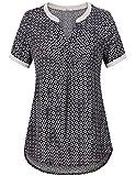 Bebonnie Short Sleeve Tunic Plus Size, Women's Henley Short Sleeve V Neck Summer Casual Flare Tunic Tops Black_Grey L