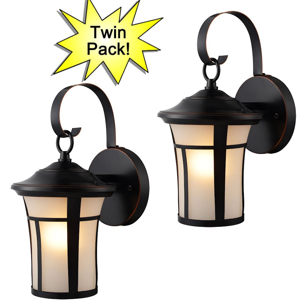 Hardware House 21-2687 Oil Rubbed Bronze Outdoor Patio / Porch Wall Mount Exterior Lighting Lantern Fixtures with Frosted Glass - Twin Pack by Hardware House