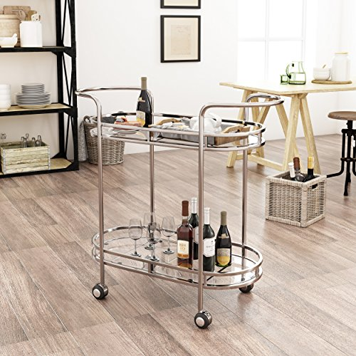 Michelle Modern Iron and Glass Bar Cart, Silver by Great Deal Furniture