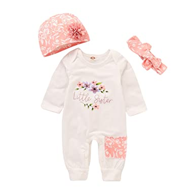 ef9ff00d2993 Baby Girl Clothes Little Sister Newborn Outfit Print Long Sleeve Romper +  Hat + Headband Set