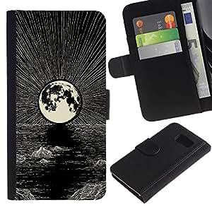 Graphic Case / Wallet Funda Cuero - Moon Pencil Drawing Ink Night Sea - Samsung Galaxy S6 SM-G920