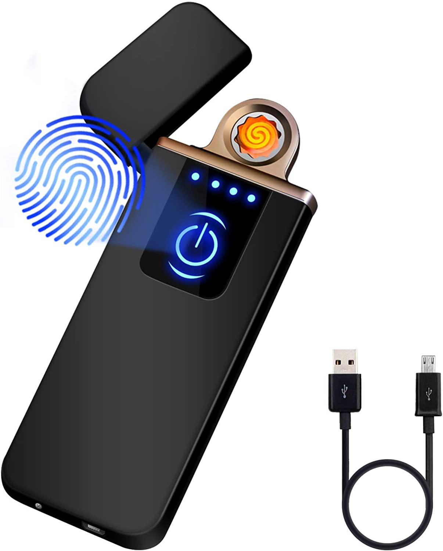 Auratrio Y08 Encendedor Eléctrico, Mechero Recargable USB, Pantalla Táctil, a Prueba de Viento, sin Gas/Llama, Indicador de Batería, Encendedor para ...