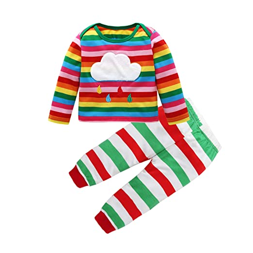 52d8f3cb Amazon.com: Sinhoon Kids Baby Girls Boys Rainbow Pajamas Cotton Long Sleeve  T Shirt Tops + Stripe Pants Outfit Set: Clothing