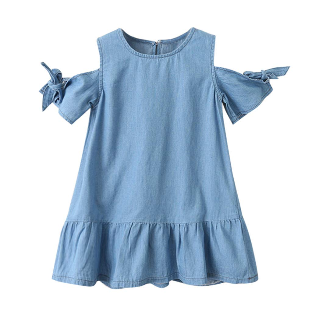 Infant Baby Girl Bowknot Knotted Short-Sleeve Party Denim Princess Dress,Waymine