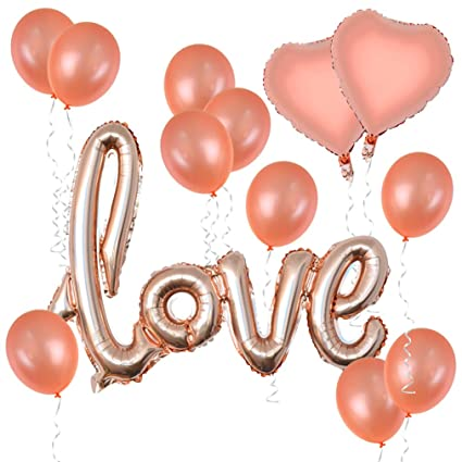 Amazon Com Baotongle Rose Gold Love Balloons Kit Valentines Day