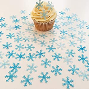 """48pcs 1.6"""" Christmas Wafer Edible Snowflakes Cupcake & Cake Toppers Decoration for Winter Frozen Theme Party"""