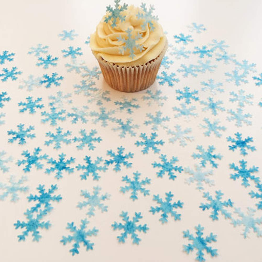 CHOCKACAKE 48pcs Christmas Wafer Edible White&Blue Snowflakes Cupcake & Cake Toppers Decoration for Winter Frozen Theme Party