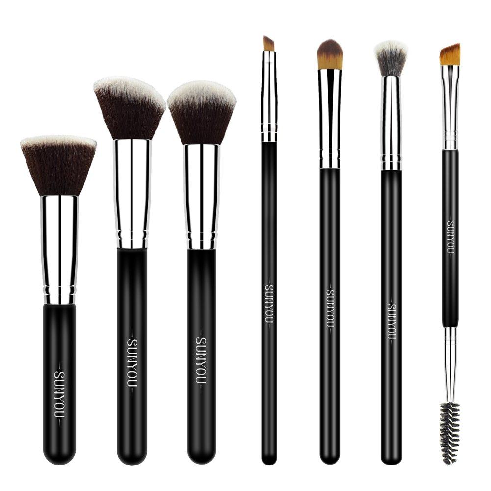 SUNYOU Pinceau Maquillage 7Pcs Pinceaux Professionnel Ensemble de Pinceaux de Maquillage Kit de Brosse à Ombre Brosse à Paupières Pinceaux pour les yeux Cosmétique Pinceau avec Sac de Rangement Exquis