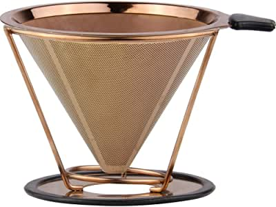 Sivaphe Stainless Steel Coffee Filter, Reusable Pour Over Cone Coffee Dripper & Paperless Filter with Removable Stand (Gold Mesh)