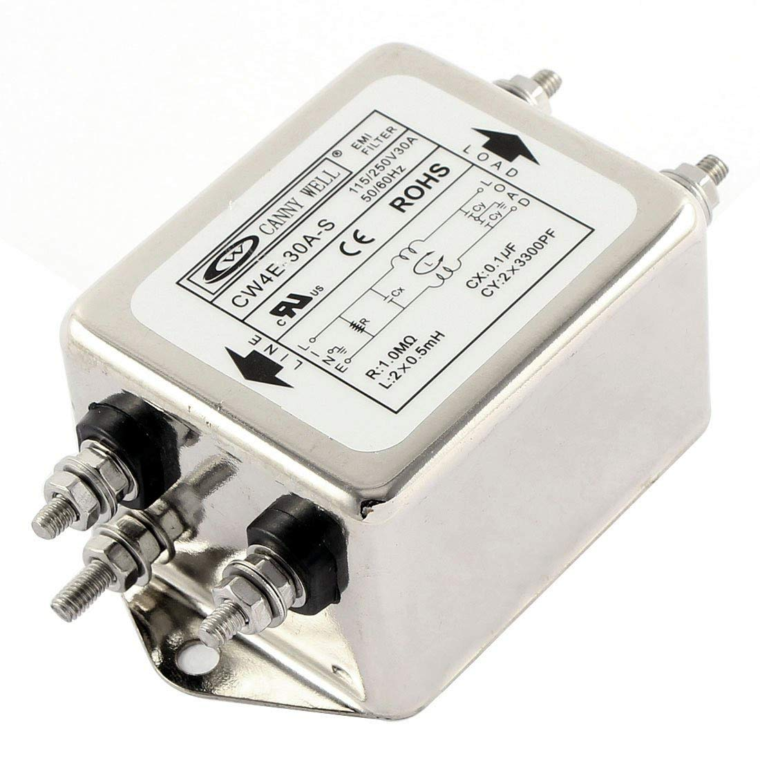 HLin AC 115/250V 30A CW4E-30A-S Noise Suppressor Power EMI Filter AC Power Line EMI Filter