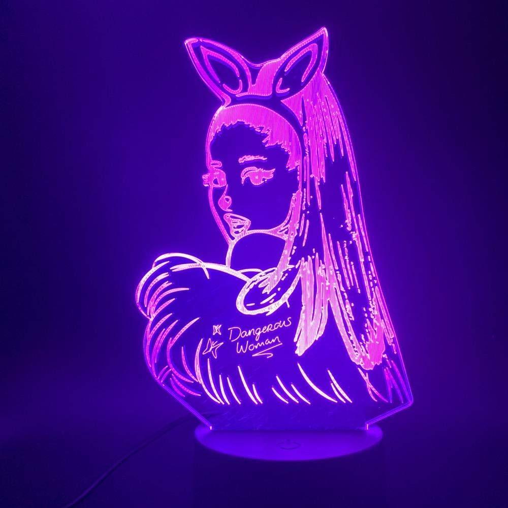 3D Night Light Celebrity Singer Ariana Grande Poster 3D Led Night Light Cat Girl Fans Gift for Indoor Room Decorative Nightlight Table Lamp 3D