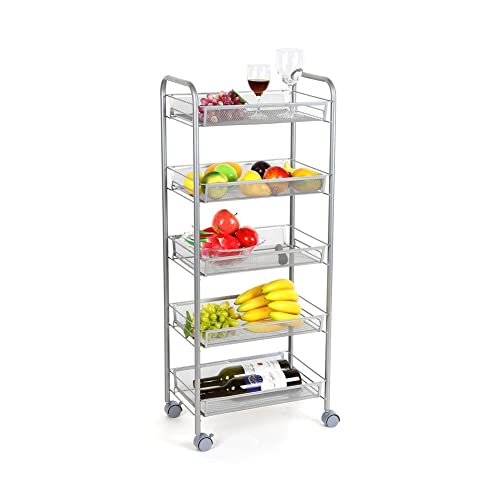 Homfa 5-Tier Mesh Wire Rolling Cart Multifunction Utility Cart Kitchen Storage Cart on Wheels, Steel Wire Basket Shelving Trolley,Easy Moving,Silver